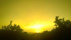 Заход солнца в minneriya Стоковое Изображение RF