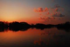 Заход солнца в Moravian-силезской зоне стоковые фотографии rf