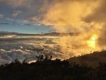 Заход солнца в Mount Kinabalu Сабахе Борнео Стоковые Изображения RF