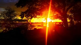 Заход солнца в nakornphanom Таиланде Стоковое фото RF
