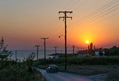 Заход солнца в Nea Kallikratia, Греции Стоковая Фотография