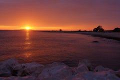 Заход солнца в Novalja Стоковая Фотография