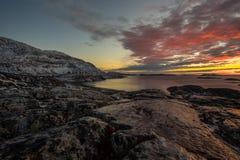 Заход солнца в Nuuk Стоковые Изображения RF