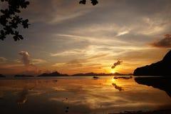 Заход солнца в Palawan Стоковая Фотография RF