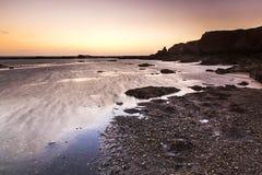 Заход солнца в Penestin Стоковое Изображение RF