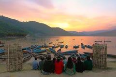 Заход солнца в pokhara Непале Стоковое Изображение