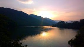 заход солнца в pokhara Стоковое Изображение RF