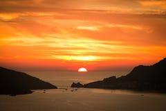 Заход солнца в Portovenere Стоковая Фотография