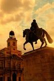 Заход солнца в Puerta del Sol, Мадриде Стоковая Фотография RF