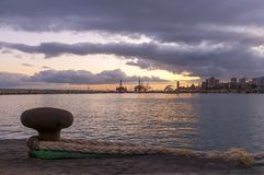 Заход солнца в Santa Cruz de Тенерифе стоковое фото rf