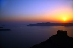 Заход солнца в Santorini Стоковые Фото