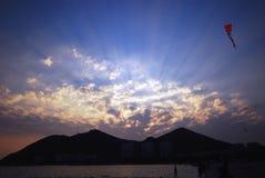 Заход солнца в Sanya Стоковое Фото