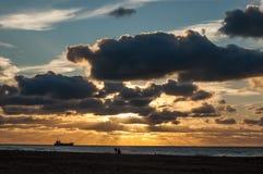 Заход солнца в Scheveningen, Нидерландах Стоковая Фотография RF