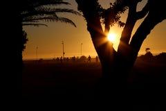Заход солнца в Seapoint Кейптауне Стоковое фото RF
