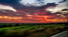 Заход солнца в Sicilia стоковое фото