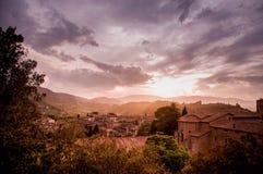 Заход солнца в Spoleto, Италии Стоковые Изображения