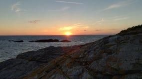Заход солнца в sur Mer Piriac Стоковое фото RF