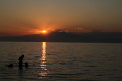 Заход солнца в Thassos Стоковое Фото