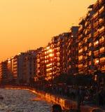 Заход солнца в Thessaloniki Стоковая Фотография