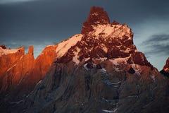 Заход солнца в Torres del Paine Стоковая Фотография RF