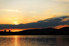 Заход солнца в umavaÅ, чехии Стоковое Фото