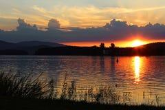 Заход солнца в umavaÅ, чехии Стоковые Фото