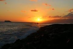 Заход солнца Гаваи Стоковое фото RF