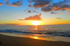 Заход солнца Гаваи Стоковые Фотографии RF