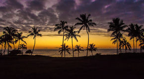 заход солнца Гавайских островов Стоковые Изображения RF