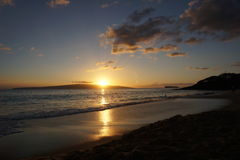 заход солнца Гавайских островов maui Стоковые Фото