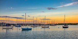 Заход солнца гавани Аннаполиса стоковые изображения rf