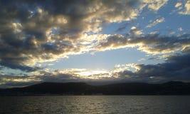 Заход солнца гавани Веллингтона стоковая фотография rf