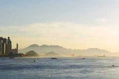 Заход солнца гавани Гонконга Виктории Стоковое Изображение