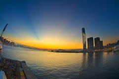 Заход солнца гавани Гонконга Виктории Стоковое фото RF