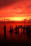 Заход солнца гавани Poole стоковое изображение