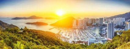 Заход солнца Гонконга красивый Стоковое Изображение RF
