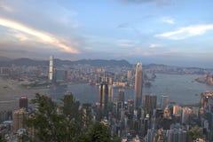 Заход солнца Гонконг Стоковое Изображение RF