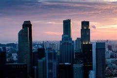 Заход солнца горизонта Сингапура Стоковое фото RF