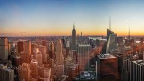 Заход солнца горизонта nd NYC Имперского штата Стоковая Фотография