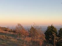 Заход солнца горного вида Стоковая Фотография RF
