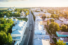 Заход солнца города собора в Владимире, России Стоковое Изображение