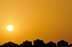 Заход солнца города Стоковое Изображение