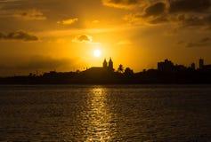 Заход солнца города Стоковые Изображения