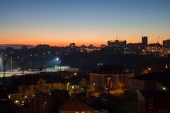 Заход солнца городка Стоковое Фото
