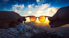 Заход солнца горы атласа Стоковые Изображения