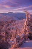 Заход солнца горы зимы стоковое изображение