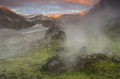 Заход солнца горы около Landmannalaugar Стоковое фото RF