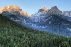 Заход солнца горы доломитов Стоковые Изображения RF