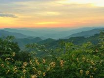 Заход солнца горы Smokey Стоковые Фотографии RF