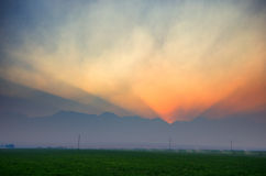 Заход солнца горы Smokey стоковое изображение